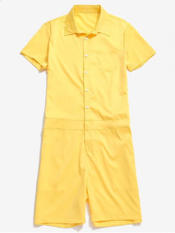 buy Solid Color Casual Romper - YELLOW 2XL