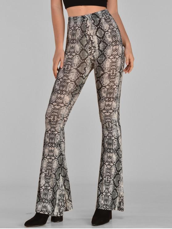shops ZAFUL High Rise Snake Print Flare Pants - MULTI S