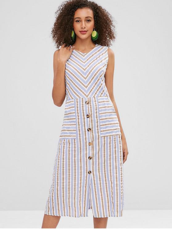 Streifen halb geknöpfte Taschen casual dress - Blaugrau S