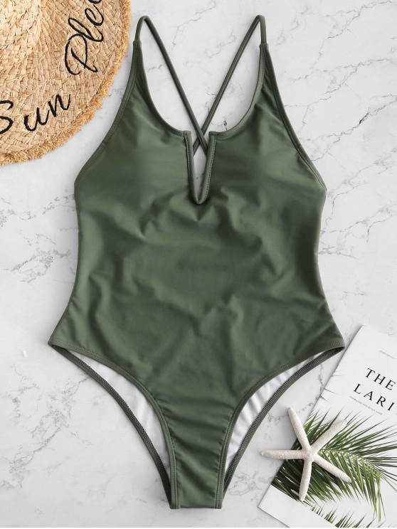 buy ZAFUL V Wired Criss Cross Backless Swimsuit - HAZEL GREEN L