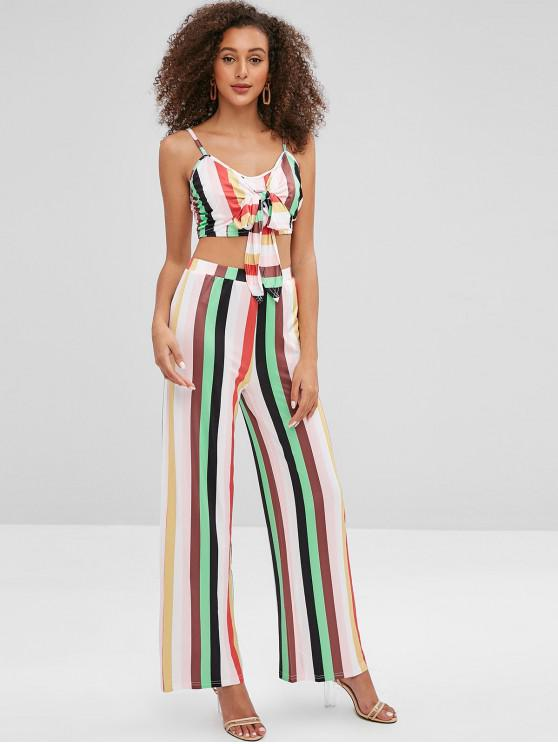 women Striped Knotted Top and Loose Pants Set - MULTI XL