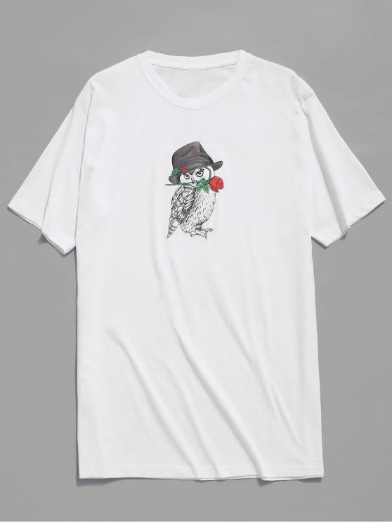 affordable Owl And Rose Print T-shirt - WHITE XS