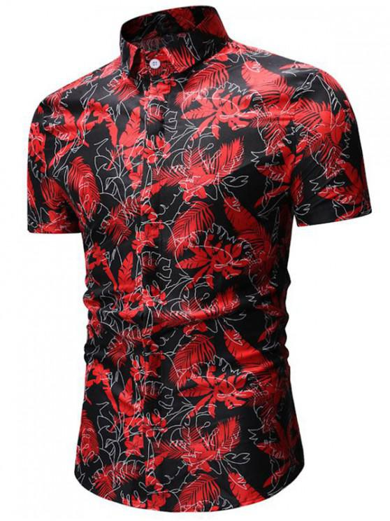 hot Tropical Print Button Up Short Sleeve Shirt - BLACK 3XL