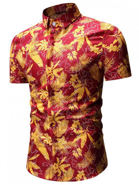 shops Tropical Print Button Up Short Sleeve Shirt - RED 2XL