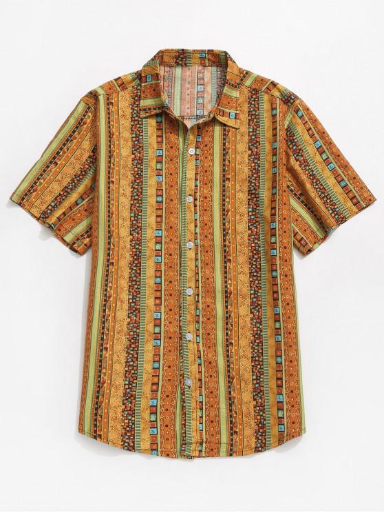 Hemd mit Jacquard-Print - Gelb XL