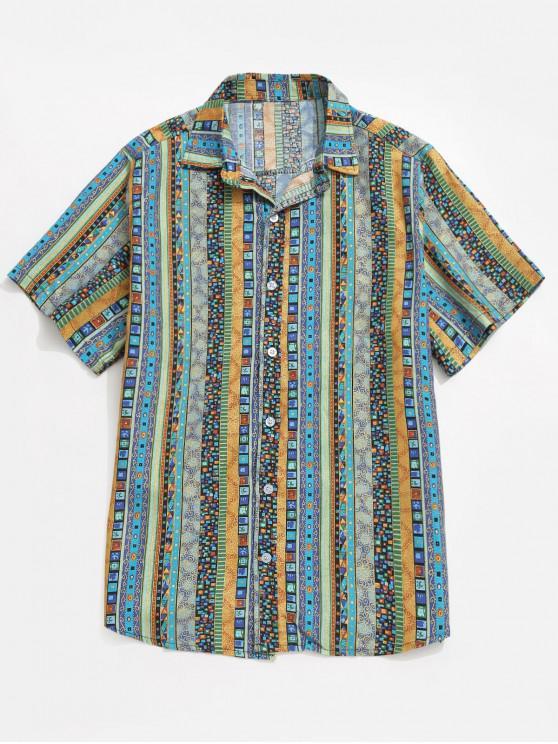Jacquard Druck Shirt - Blau L