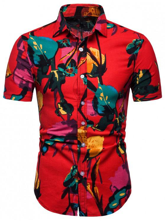 sale Floral Painting Print Shirt - RED 2XL