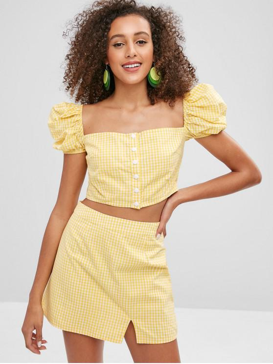 55e85c23e175d 45% OFF] 2019 ZAFUL Puff Sleeves Gingham Top And Skirt Set In CORN ...