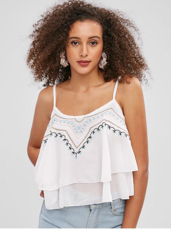ladies Embroidered Tiered Cami Top - WHITE ONE SIZE