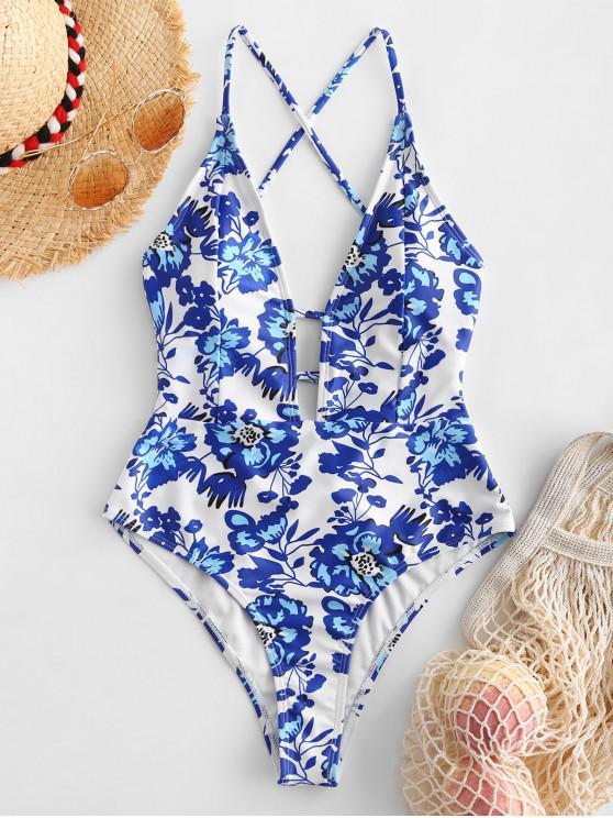 ZAFUL Planta Imprimir Criss Cross Swimsuit de uma peça - Branco L