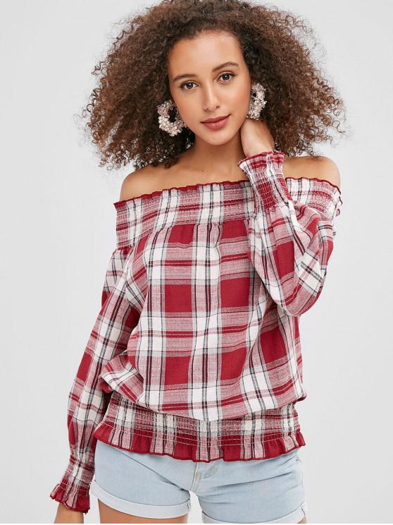 outfits Smocked Plaid Off Shoulder Blouse - CHESTNUT RED XL
