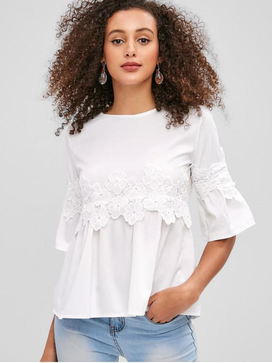 womens Applique Zip Flare Sleeve Blouse - WHITE M