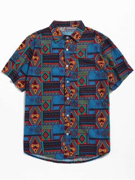 online Ethnic Tribal Geometric Print Short Sleeves Shirt - BLUE L