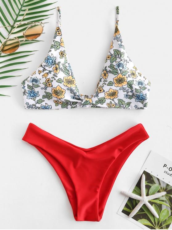 ZAFUL Ensemble de Bikini Plongeant Floral - Rouge Lave M