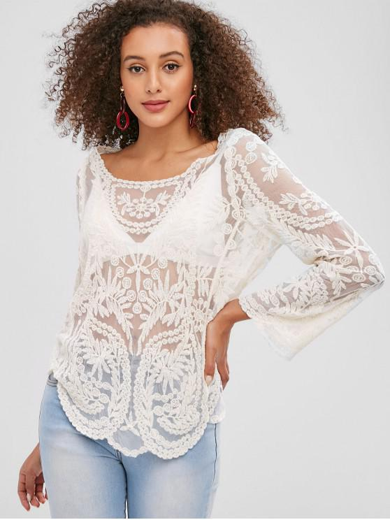 buy Long Sleeve Scoop Lace Blouse - BEIGE ONE SIZE