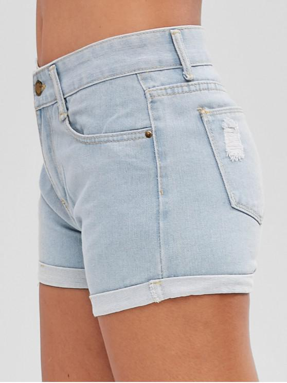 chic Ripped Roll Hem Denim Shorts - JEANS BLUE S