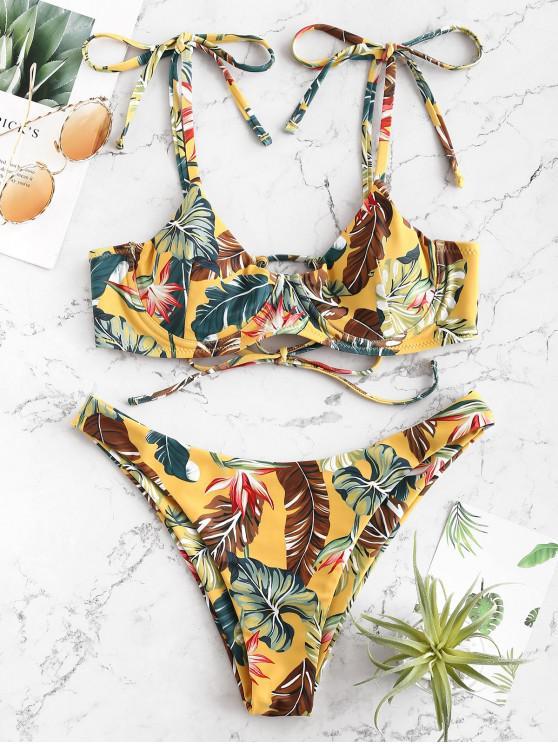 new ZAFUL Tie Shoulder Leaf Print Bikini Set - MULTI-A S