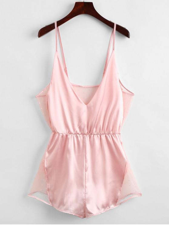 Mesh Insert Slip Pijama Romper - Rosa M