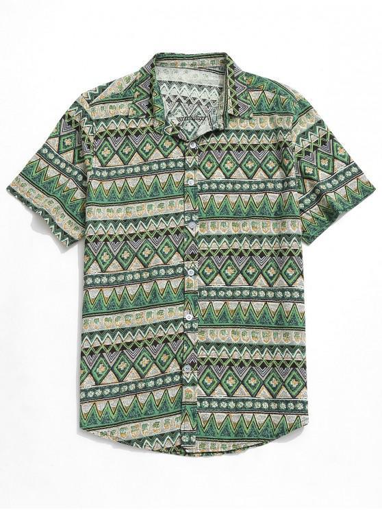 online Contrast Geometric Shirt - GREEN XL