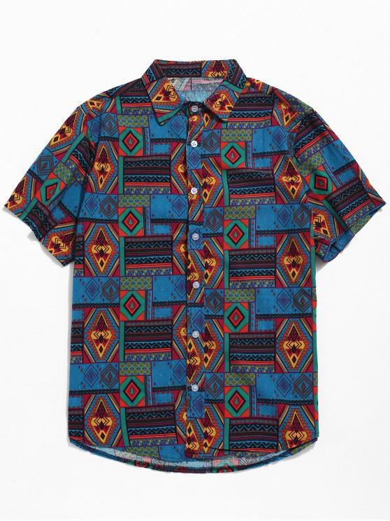 ladies Ethnic Tribal Geometric Print Short Sleeves Shirt - BLUE XS