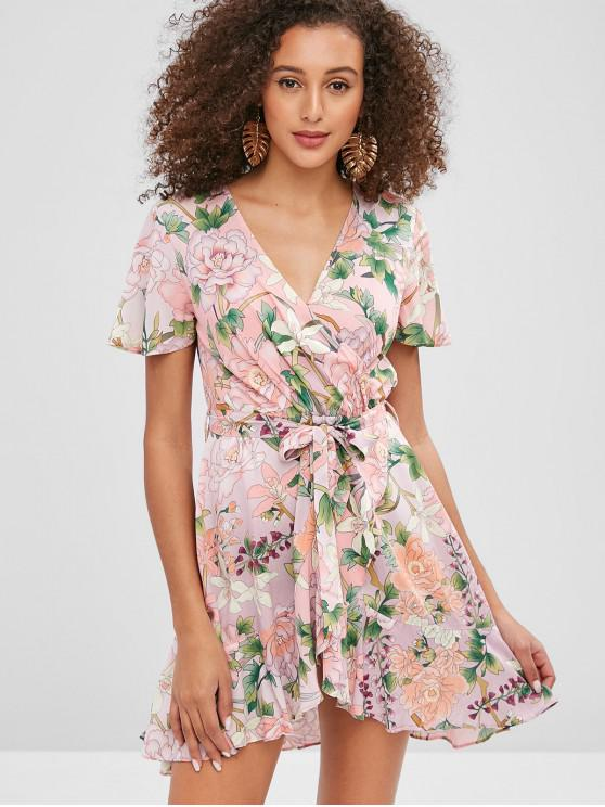 484d27a60ef 31% OFF  2019 Floral Belted Surplice Flounce Dress In MULTI