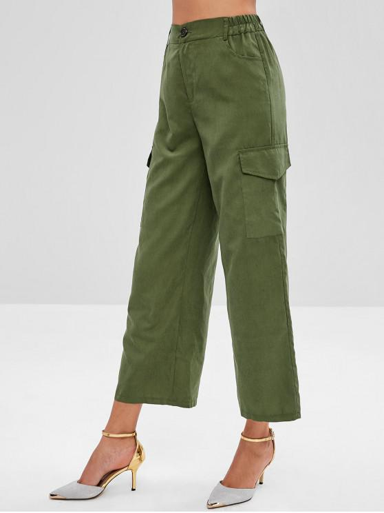 shops High Waisted Flap Pockets Wide Leg Pants - ARMY GREEN S