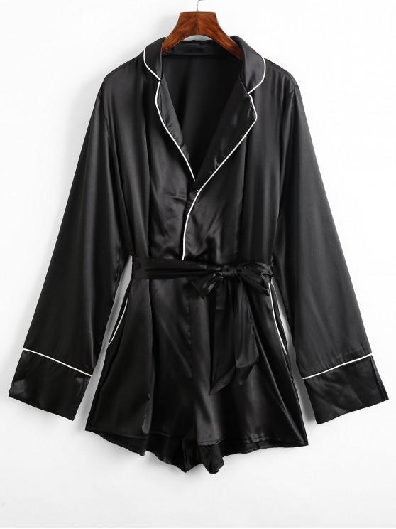 latest Lapel Satin Pocket Pajama Romper - BLACK L