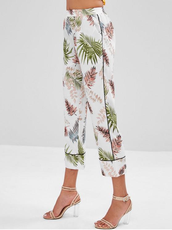 new Palm Leaves Wide Leg Pants - WHITE M