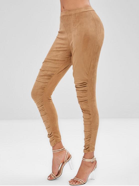 ladies Ruched Suede Leggings - CAMEL BROWN XL