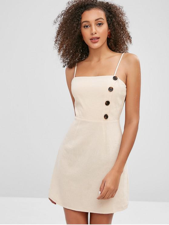 fancy ZAFUL Buttoned Cami Mini Dress - BLANCHED ALMOND M
