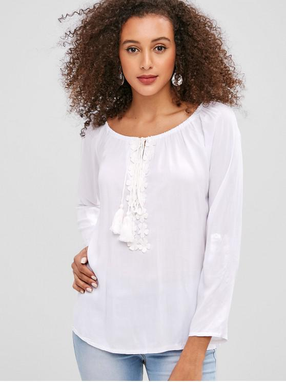 Blusa de manga raglán de borla de apliques de flores - Blanco 2XL