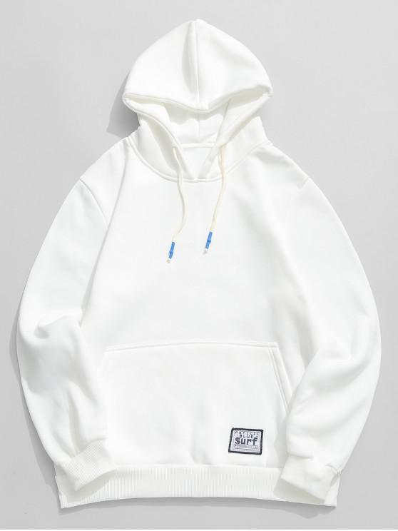 unique Solid Pouch Pocket Fleece Hoodie - WHITE L
