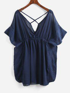 Lace Trim Crisscross Kaftan Dress - Lapis Blue S