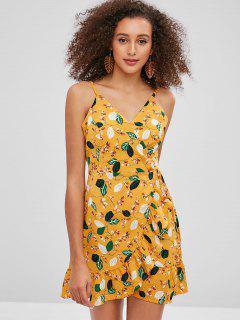 ZAFUL Ruffles Floral Wrap Dress - Bee Yellow M