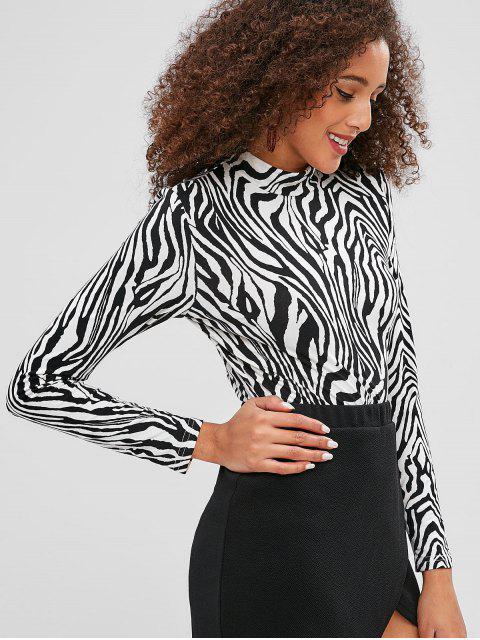 women ZAFUL Zebra Print High Neck Tee - MULTI L Mobile
