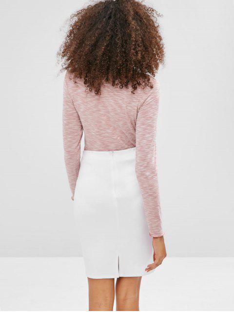 ZAFUL T-shirt Ourlet Laitue à Manches Longues - Rose  XL Mobile