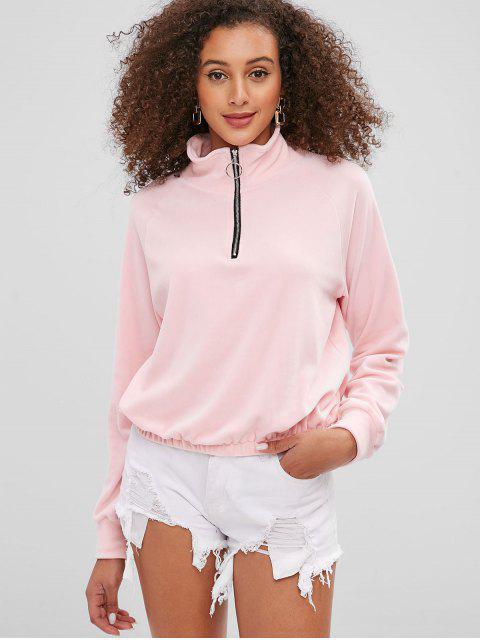 new Quarter Zip Fleece Soft Pullover Sweatshirt - PINK M Mobile