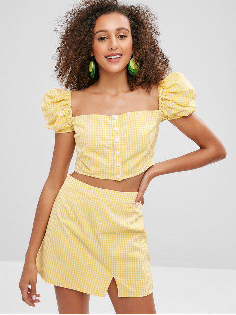 trendy ZAFUL Puff Sleeves Gingham Top and Skirt Set - CORN YELLOW M Mobile