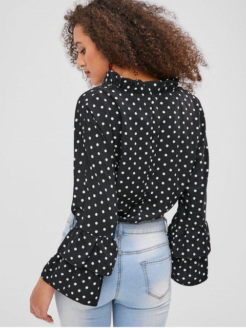 outfit Dots Flare Sleeve Tie Front Blouse - BLACK L Mobile