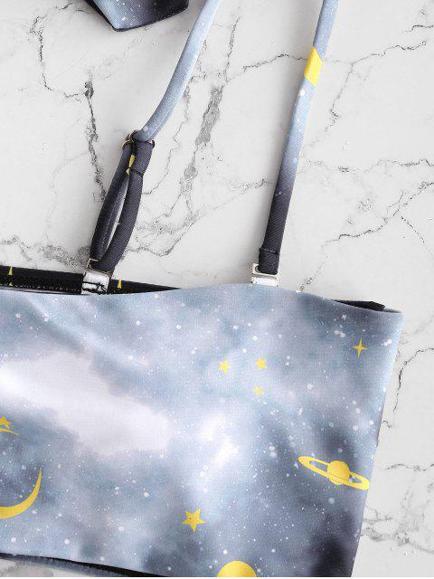 ZAFUL Принт звезды Высокий вырез Чокер Бикини в сборе - Многоцветный-С S Mobile