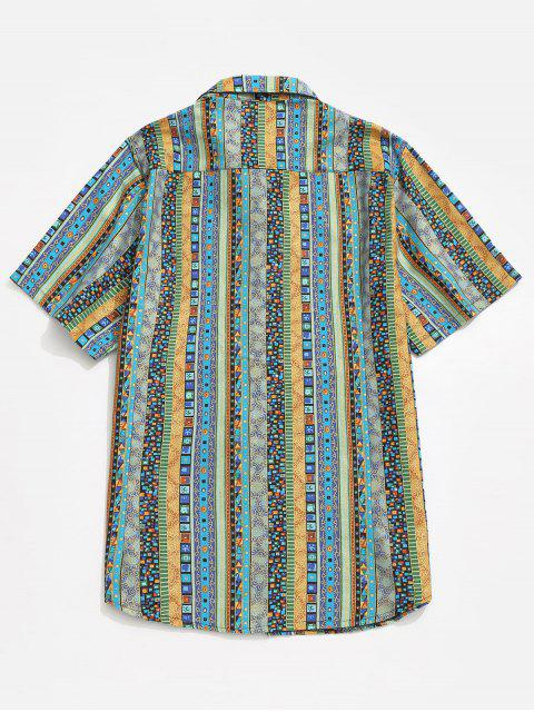 women's Jacquard Print Shirt - BLUE M Mobile
