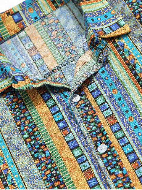 lady Jacquard Print Shirt - BLUE XL Mobile