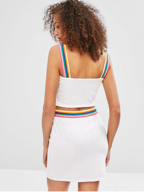 sale ZAFUL Cropped Colorful Stripes Top And Skirt Set - WHITE M Mobile