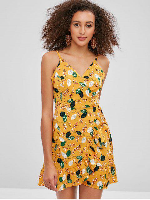ZAFUL Wickelkleid mit Rüschen und Blumenmuster - Biene Gelb M Mobile
