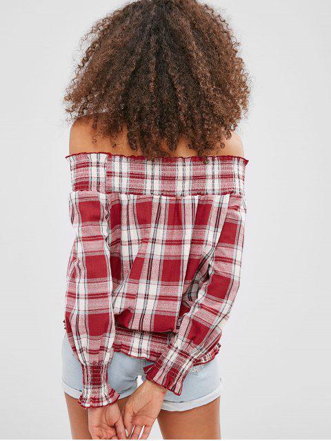 fancy Smocked Plaid Off Shoulder Blouse - CHESTNUT RED S Mobile
