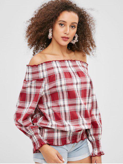 best Smocked Plaid Off Shoulder Blouse - CHESTNUT RED M Mobile