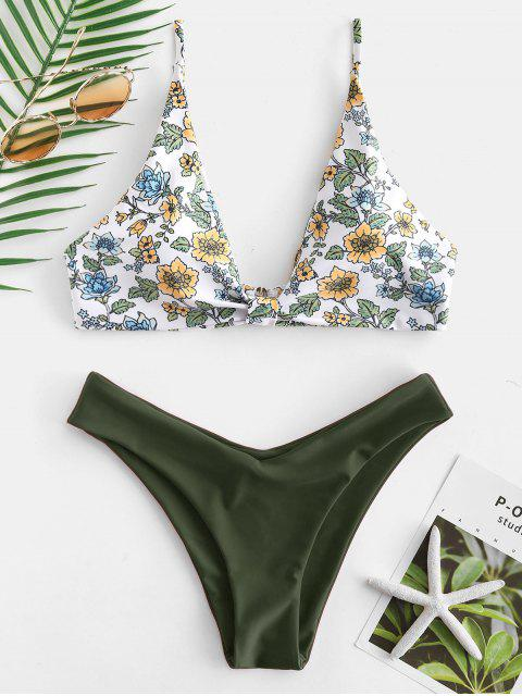 ZAFUL Conjunto de Biquíni Floral com Decote Profundo - Cor de Verde da Avelã S Mobile