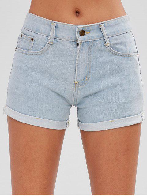 latest Ripped Roll Hem Denim Shorts - JEANS BLUE M Mobile