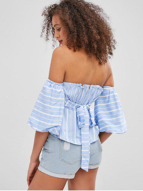 buy Striped Puff Sleeve Bandeau Peplum Blouse - SKY BLUE XL Mobile