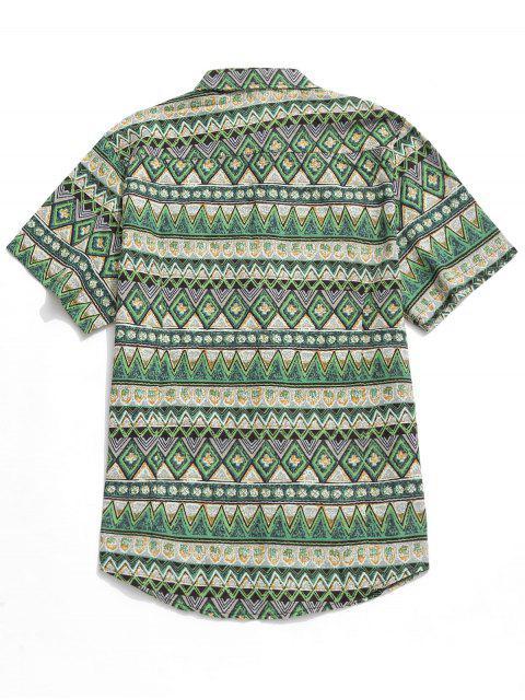 Camisa Geométrica Contraste - Verde M Mobile